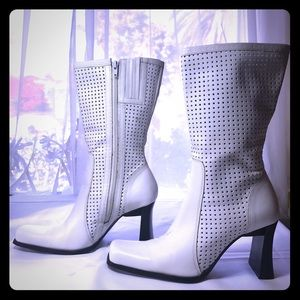 Shoes - Vintage 90s white leather high heel boots Two Lips